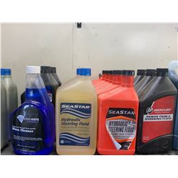 Glass Cleaner, Synthetic Injector Oil, Full Synthetic Oil, Assembly Grease, Power Steering Fluid, Oi