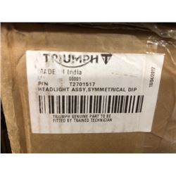 Triumph Head Light Part#  T2701517, 1 Muffler E-TEC Part#  02222Pl
