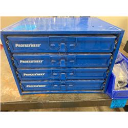 1 - 4 Compartment Parts Bin  (ProFasteners) with Assorted Nuts, Bolts, Screws, Washers, Lawson Hose