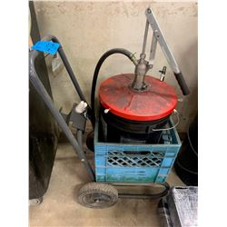 Grease Pail on Cart with Pump & 3 Grease Guns