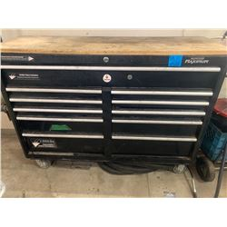 Mastercraft Tool Chest on Wheels containing:  Flush Buddy Engine Flusher, Milwaukee Drills Hand Saws