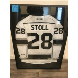Los Angeles kings Stanley Cup year home jersey signed by Jarrett Stoll , Framed  (RUH Foundation)
