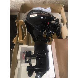 2017 Mercury 4 stroke 20 HP outboard motor w. tiller, unused, crated, w. fuel tank, warranty card