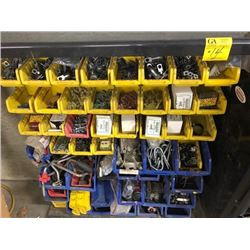 bin compartments with misc. nuts, clips, Asstd. washer tek screws, crimp'n'shrink, u-bolts and more