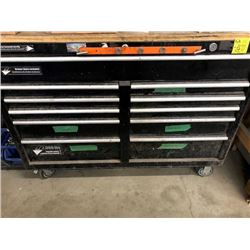 Steadymate tool chest, 11 drawers, full of misc. tools, staple guns, socket set and more