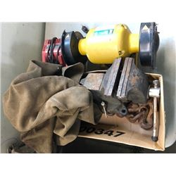 """6"""" bench grinder; Milwakee M18 charger. Makita DC18RA charger; vice, chains, Gander Brand suede coat"""