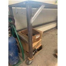 big steel work bench with Grey Bench Vise
