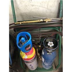 Oxy Acetylene cart, tanks, regulators, hose and torch