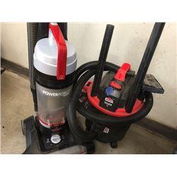 Bissell Powerforce Turbo vacuum model 2190C; Jobmate 15L 6A wet/dry vac