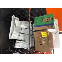 wire shelving rack, coat hangers, CAT5e riser cable