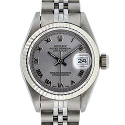 Rolex Ladies Stainless Steel Slate Grey Roman 26MM Datejust Wristwatch