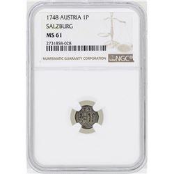 1748 Austria Pfennig Salzburg Coin NGC MS61