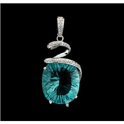 20.00 ctw Quartz and Diamond Pendant - 14KT White Gold