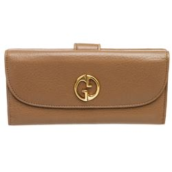 Gucci Brown Leather Vintage Long Wallet