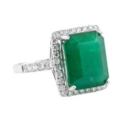 8.64 ctw Emerald and Diamond Ring - 18KT White Gold