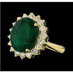 6.98 ctw Emerald and Diamond Ring - 14KT Yellow Gold