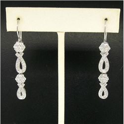 14k White Gold & Diamond Long Dangle EarringsPave Ribbons & Flower Clusters