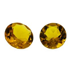7.34 ctw.Natural Round Cut Citrine Quartz Parcel of Two