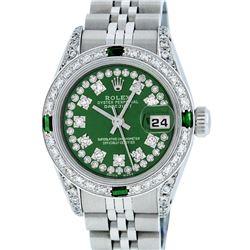 Rolex Ladies Stainless Steel 26MM Green Diamond Lugs Datejust Wristwatch