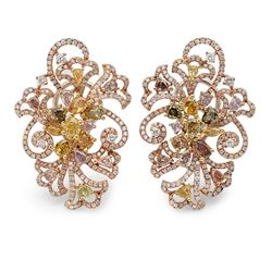 18k Three Tone Gold 6.29CTW Multicolor Dia and Pink Diamond and Diamond Earrings