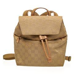 Gucci Tan Beige GG Canvas Leather Mini Backpack