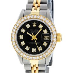 Rolex Ladies 2 Tone 14K Black Diamond Bezel & 1 ctw Bezel Datejust