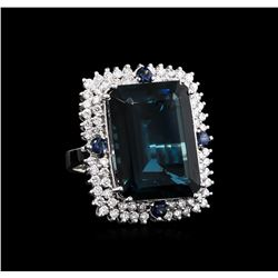 30.20 ctw Blue Topaz and Diamond Ring - 14KT White Gold