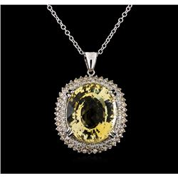 22.75 ctw Citrine and Diamond Pendant With Chain - 14KT White Gold