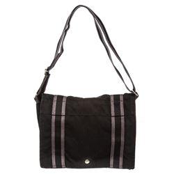 Hermes Black Canvas Fourre Tout Vassus Messenger Bag