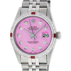 Rolex Mens Stainless Steel Pink Diamond & Ruby 36MM Datejust Wristwatch