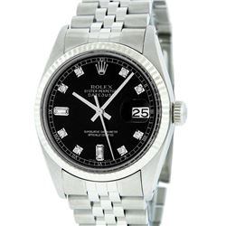 Rolex Mens Stainless Black Diamond 36MM Datejust Wristwatch