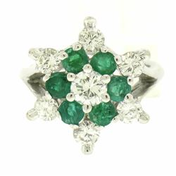 14k White Gold 2.25 ctw Round Emerald & Diamond Ladies Star Cluster Cocktail Rin