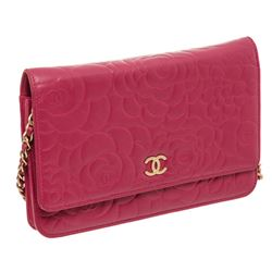 Chanel Magenta Lambskin Leather Camellia Wallet On Chain WOC Bag