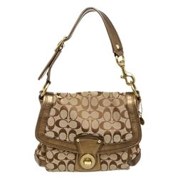 Coach Brown Monogram Canvas Gold Leather Shoulder Bag