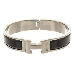 Hermes Black Enamel Palladium Plated Narrow Clic Clac H Bracelet PM