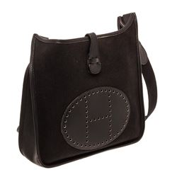 Hermes Black Canvas Leather Evelyne I PM Bag