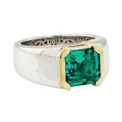3.15 ctw Lab Grown Emerald Ring - 18KT White and Yellow Gold