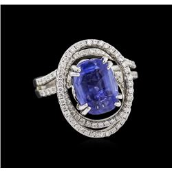 4.72 ctw Blue Sapphire and Diamond Ring - 18KT White Gold