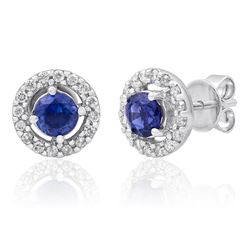 14k White Gold 1.17CTW Diamond and Sapphire Earrings, (I2/H-I)