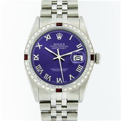 Rolex Mens Stainless Steel Purple Roman Diamond & Ruby Datejust Wristwatch