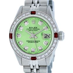 Rolex Ladies Stainless Steel Green Diamond & Ruby Datejust Wristwatch
