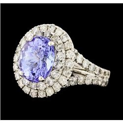 4.44 ctw Tanzanite and Diamond Ring - 14KT White Gold