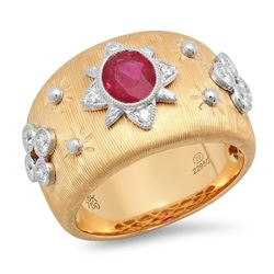 14K Two-Tone Gold 1.13CTW Ruby Ring, (VS)