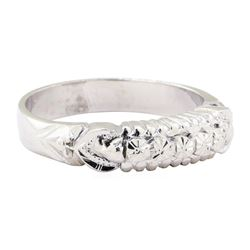 Engraved Straight Line Ring - Platinum