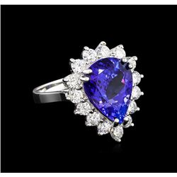 9.00 ctw Tanzanite and Diamond Ring - 18KT White Gold