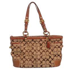 Coach Brown Monogram Canvas Leather Trim Tote Shoulder Handbag