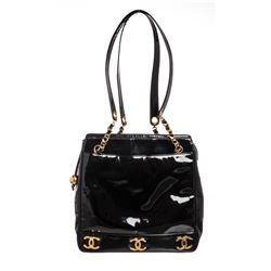 Chanel Vintage Black Vinyl CC Shoulder Bag