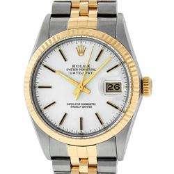 Rolex Mens 2 Tone 14K White Index 36MM Datejust Wristwatch With Rolex Box