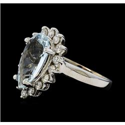 3.60 ctw Aquamarine and Diamond Ring - 14KT White Gold