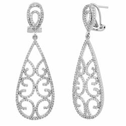 14k White Gold 1.39CTW Diamond Earrings, (I1-I2/G-H)